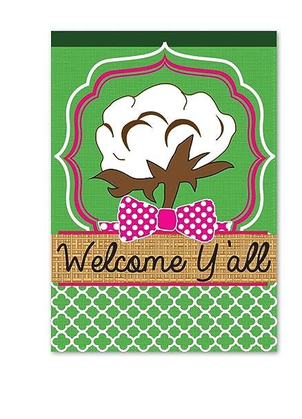 Amazon.com: Magnolia Southern Cotton Welcome Y\'all Burlap Garden ...