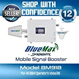 Spiritronyx BlueMax BM918 Premium Quality 2G/4G Mobile Signal Booster Dual Band (900 & 1800MHz) GSM 2G/Voice all GSM + 4G Operators (1800MHz). Complete kit with 15 Meters (Outdoor) and 5 Meters (Indoor) cables. 12 Months Warranty.