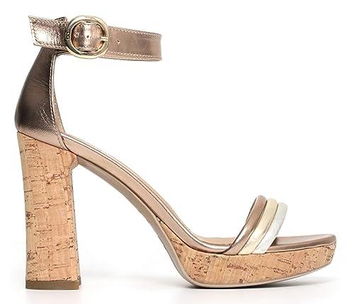 Sandali NeroGiardini P805845D 434 5845 scarpe tacco oro