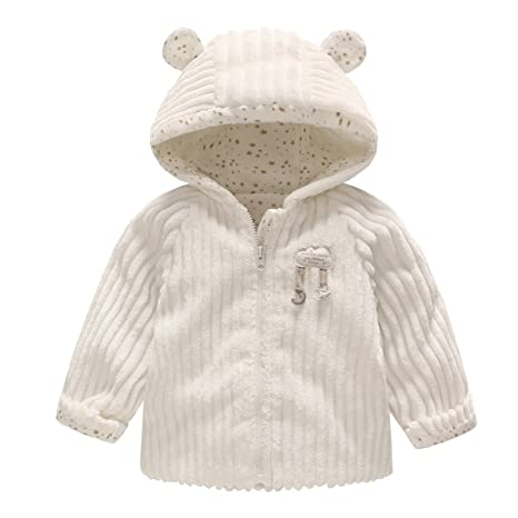 Vine Bebé Chaquetas de Invierno Polar Abrigos con Capucha Espeso Trajes Ropa de invierno, Blanco