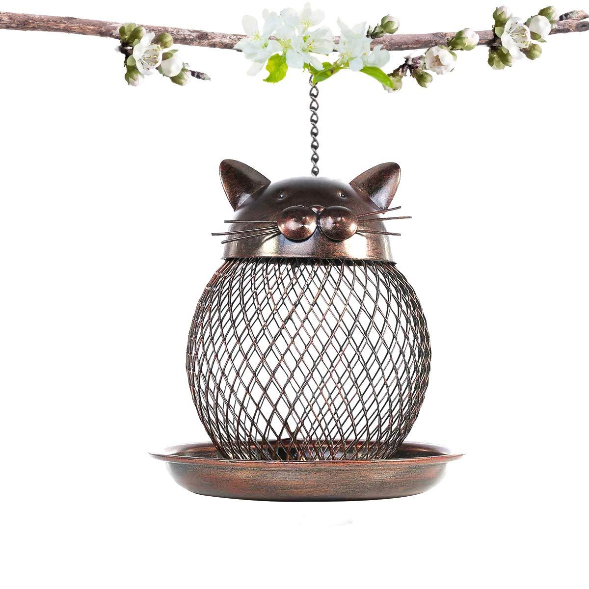 PETRIP Bird Feeders for Outside Wild Bird Feeder for Finch, Cardinal Bluebird Hummingbird feeders for Outdoors, Cat-Shaped Antique Patio Decor (cat-Bird Feeder)