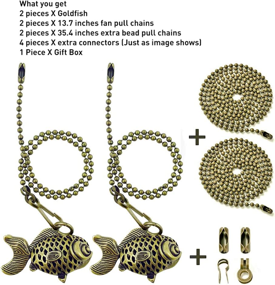 Extra 2 Beaded Ball Extender String Chain 90 cm Box for Decorations /& Gifts 4 Connectors Wayilea Fan/Pulls/Decorative Ceiling/Fan/Light Pull Chain Bronze Gold Fish Ornaments