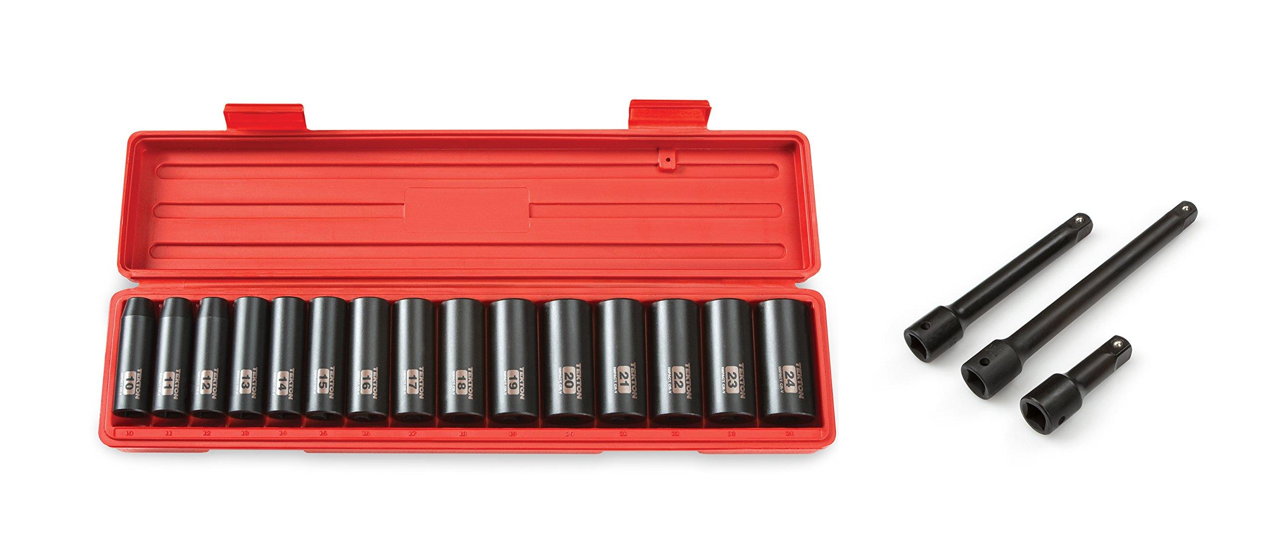 TEKTON 4883 1/2-Inch Drive Deep Impact Socket Set, Metric, 10 mm - 24 mm, 15-Sockets with TEKTON 4971 1/2-Inch Drive Impact Extension Bar Set
