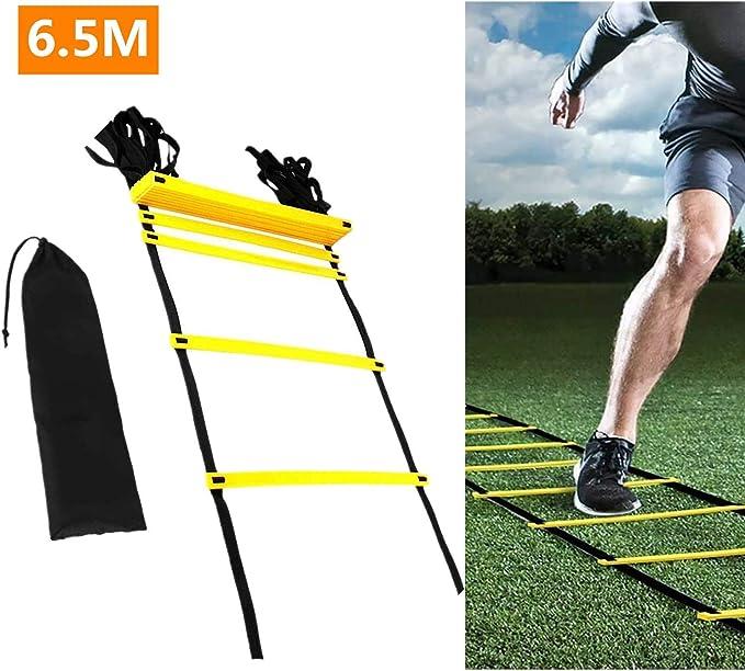 Mioke Velocidad Escalera de Agilidad de Fútbol Entrenamiento Ajustables 6.5 Metros de Velocidad con Borsa: Amazon.es: Deportes y aire libre