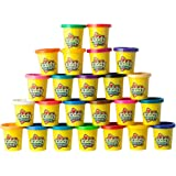 KIDDY DOUGH 24 Pack of Color Dough – Mega Modeling Compound & Sculpting Playset With 24 Individual 3-Ounce Cans, Assorted Colors, Non Toxic – Exclusive Bulk Party Pack