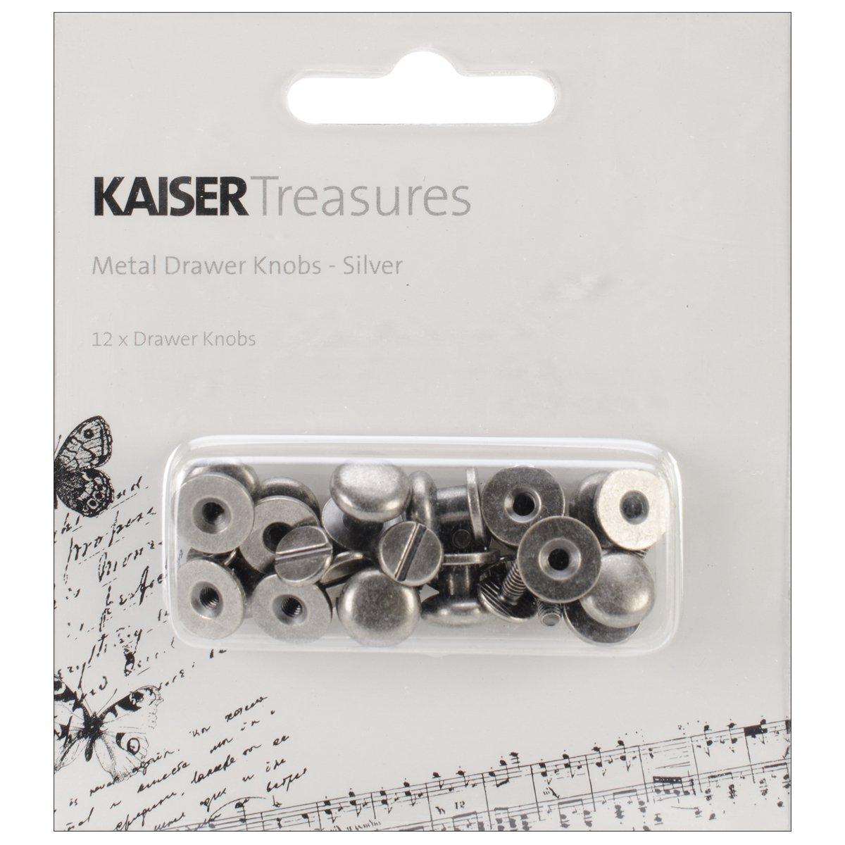 Kaisercraft TM811 Treasures Metal Drawer Knob, 0.375-Inch, Antique Silver, 12-Pack