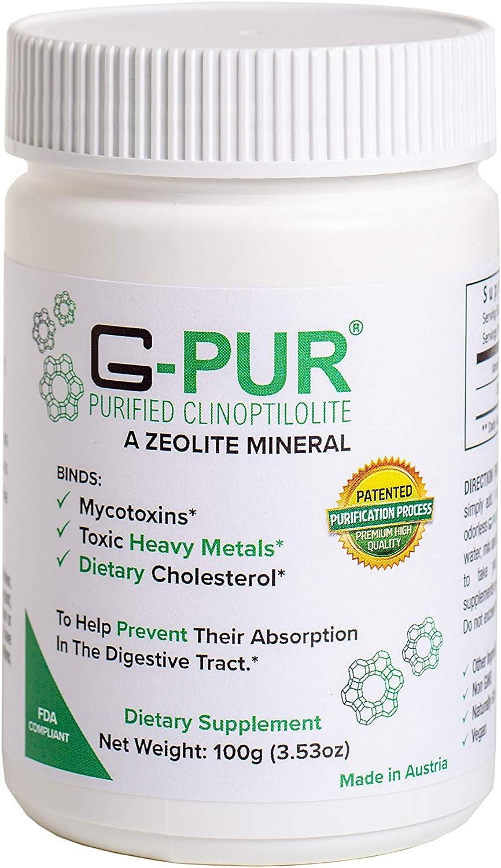 G-PUR® Purified Clinoptilolite, A Zeolite Mineral, 100 Gram jar of Purified clinoptilolite (Zeolite) Powder