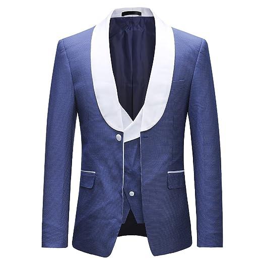d3e8098957a5 Herren Anzug 3 Teilig Slim Fit Business Hochzeit Sakko mit Schalkragen und  Hose und Weste  Amazon.de  Bekleidung