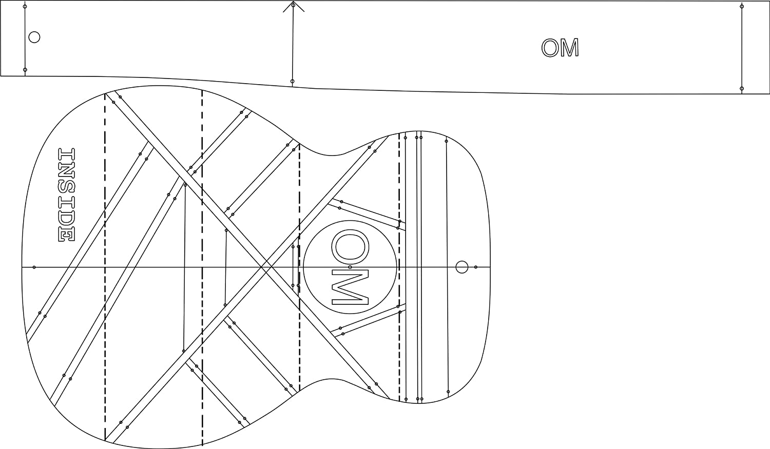 amazon com om acoustic guitar layout template guitar building