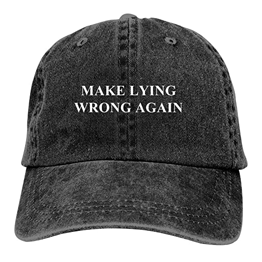 d46d27bd3250 Brniogn Adult Classic Cowboy Hats Make Lying Wrong Again Printed Basketball  Sport Trucker Snapback Cap Black at Amazon Men's Clothing store: