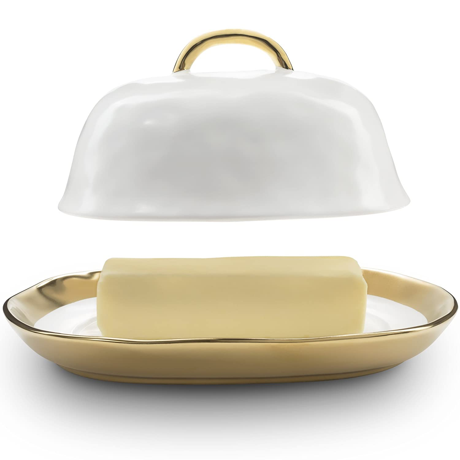 Bezrat Porcelain Butter Dish with Lid - Elegant Butter Dish with Cover and Handle, White/Gold