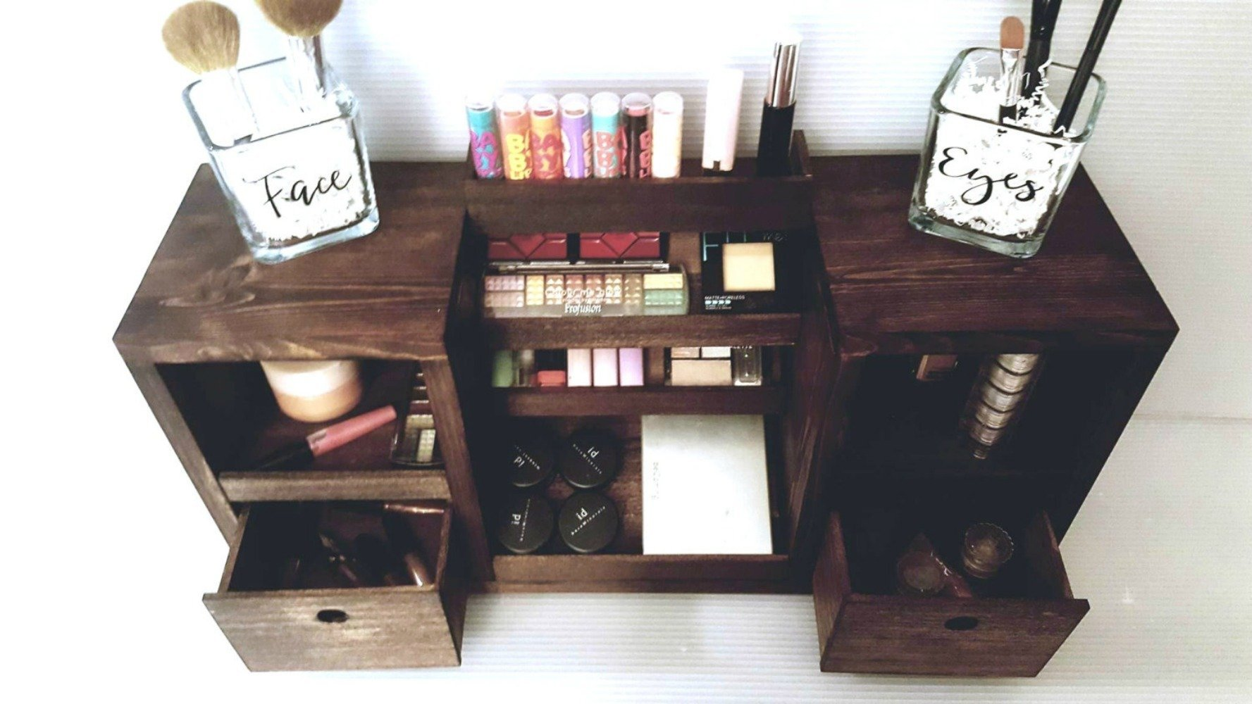 Makeup Organizer | Makeup Storage | Vanity Makeup Organizer | Cosmetic Display | Beauty Station | Makeup shelf | Wooden Makeup Organizer | Makeup Organization | Eye Palette Shelf | Nail Polish Shelf