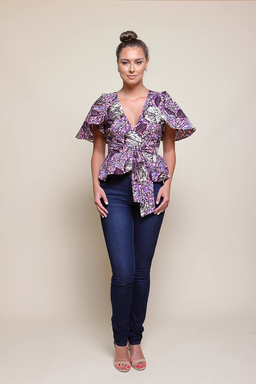 Women's African Print Wrap Blouse - Lilac