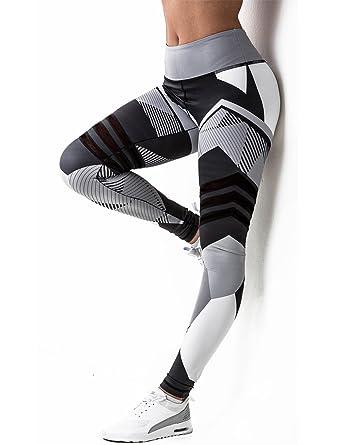 63a897b5161555 SEASUM Women Printed Leggings Sports Gym Yoga Workout High Waist Running  Pants Fitness Tights Elastic S