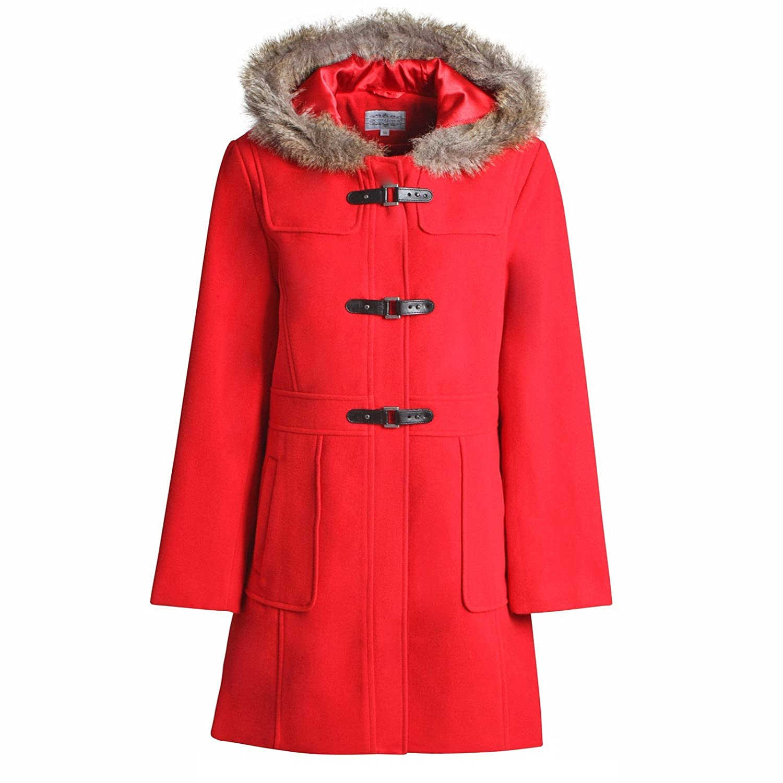 New Ladies Women Wool Hooded Hip Length Duffle Coat Purple: Amazon