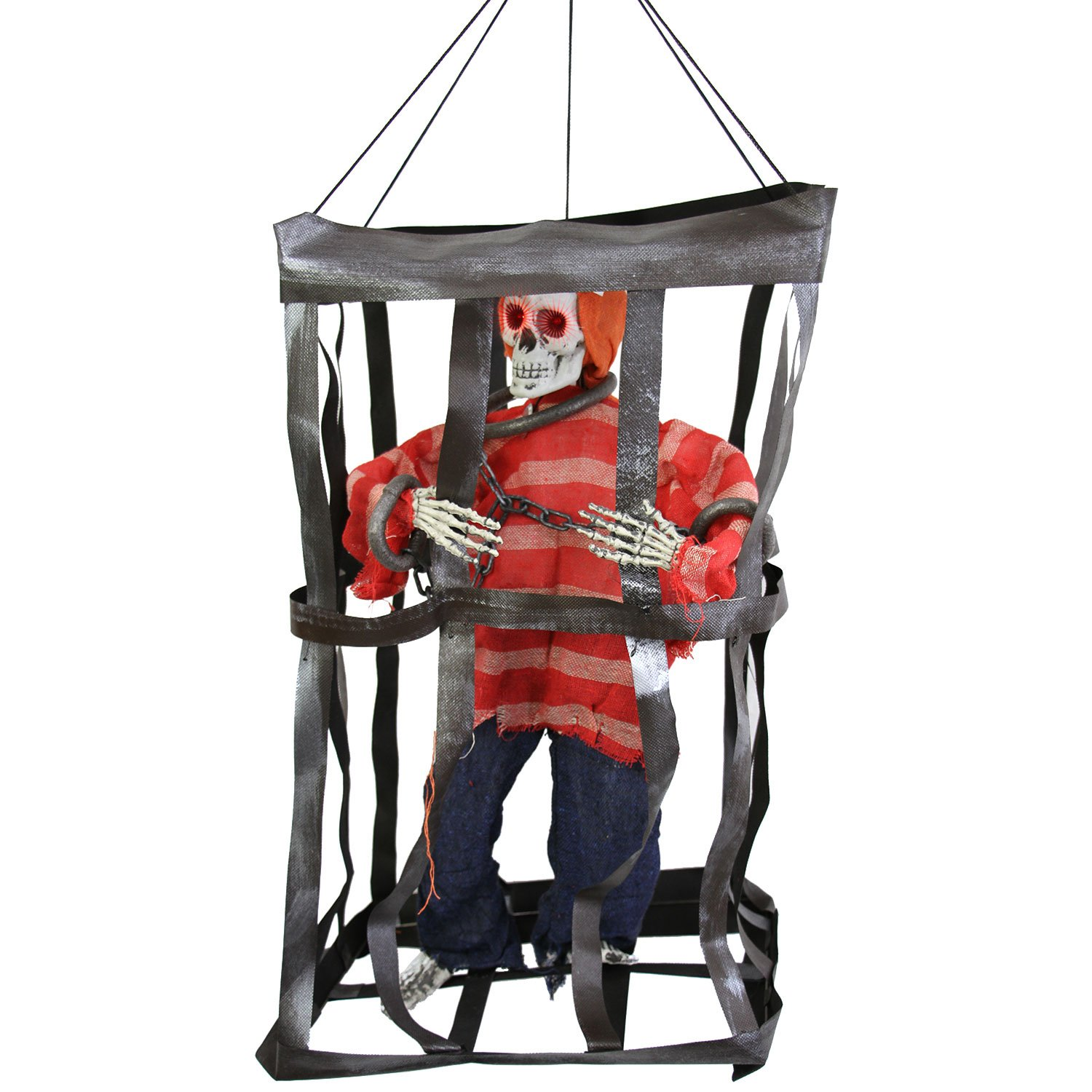 Halloween Haunters Animated Hanging Caged Skeleton Pirate Prisoner in Shackles & Chains Prop Decoration - Laughs, Moving Arms, Flashing Eyes, Jail - Battery Operated