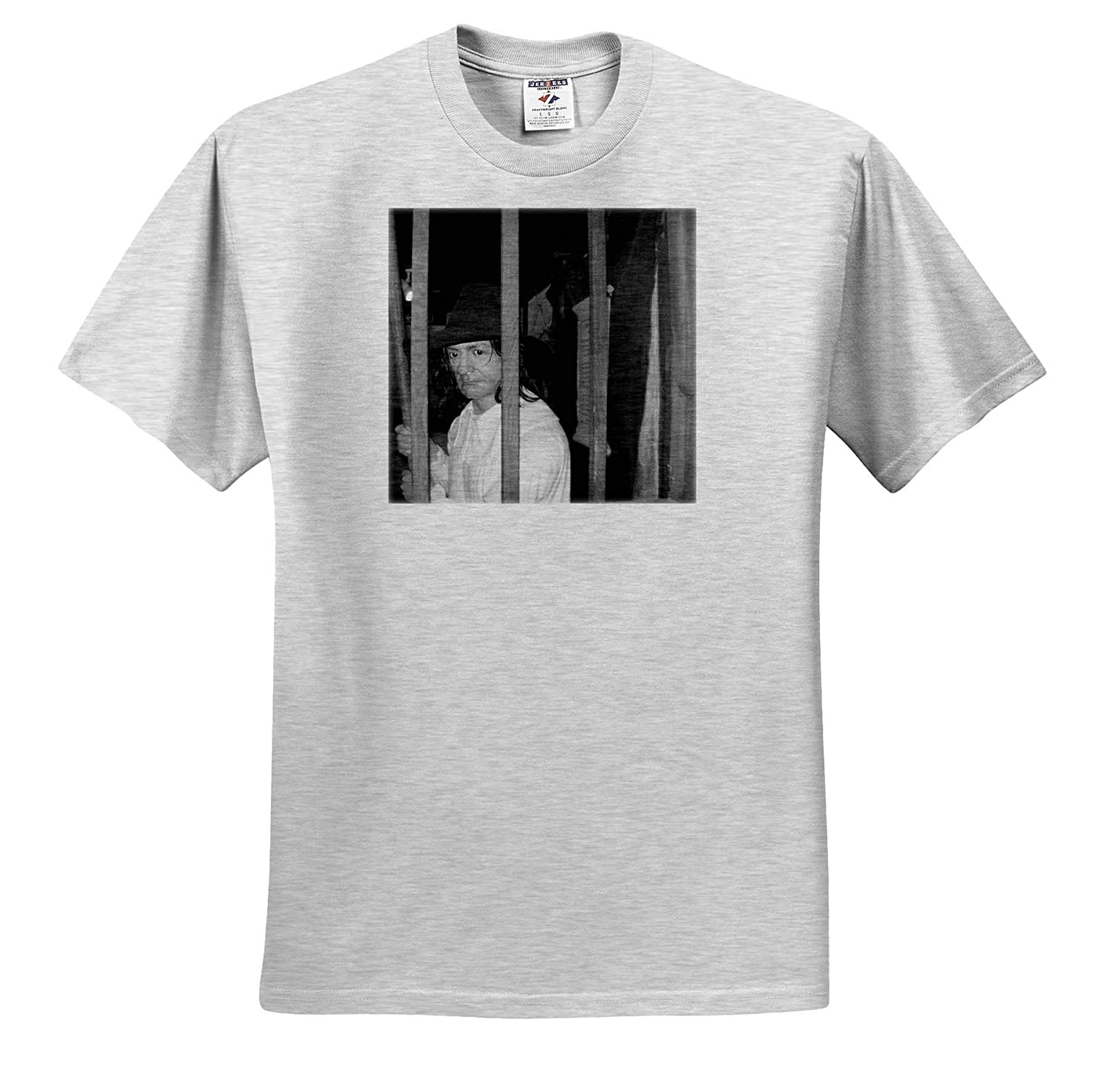 T-Shirts 3dRose Jos Fauxtographee Black and White Wales Man A Statue Behind Bars of a Man in a hat in Wales unsaturated