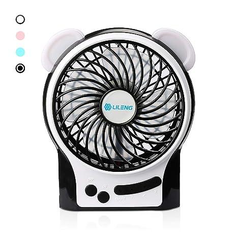 AFAITH ventilador portátil USB, 4.5 pulgadas mini pequeño mesa de escritorio silencioso eléctrico recargable ventilador con ...