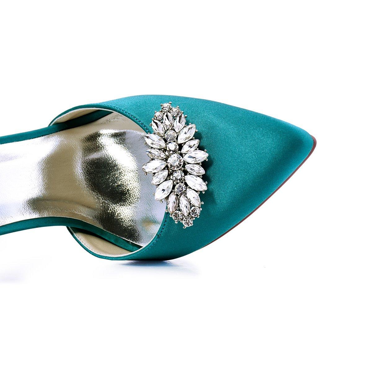 ElegantPark AW Women's Leaf Design Rhinestones Crystal Clutch Dress Hat Shoe Clips Silver 2 Pcs by ElegantPark (Image #4)