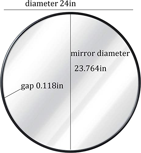 Black Round Wall Mirror – 24 Inch Large Round Mirror, Rustic Accent Mirror For Bathroom, Entry, Dining Room, Living Room. Metal Black Round Mirror For Wall, Vanity Mirror Large Circle Wall Mirror