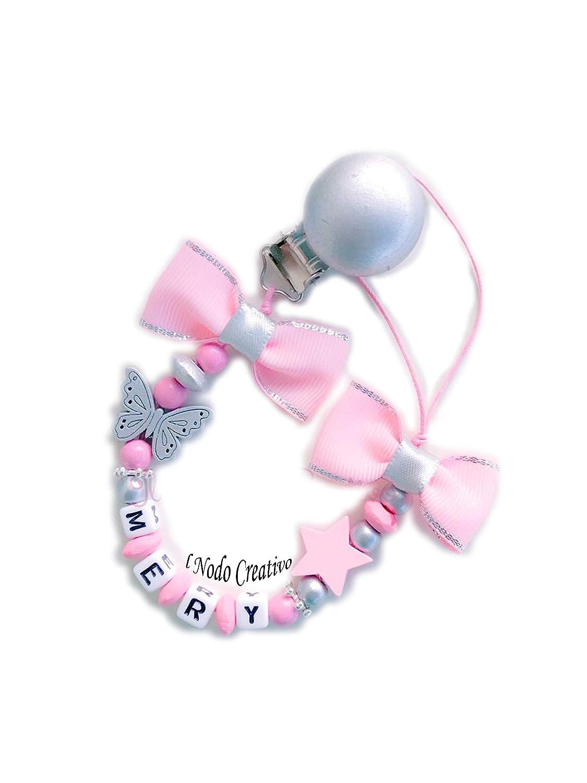 Chupetero rosa | cadena de chupete con nombre adaptable ...
