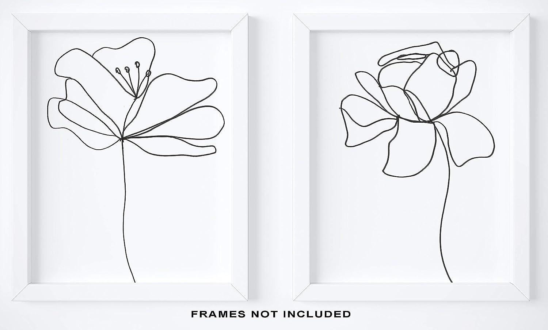 Amazon Com Abstract Black White Flower Wall Decor Set