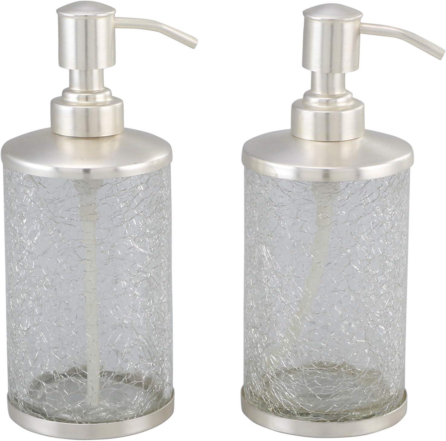ARTISANS VILLAGE Straight Crackle Lotion Bottle - Liquid Hand Soap Dispenser, Refillable Lotion Pump for Bathroom, Kitchen Countertop - Set of 2: Home & Kitchen