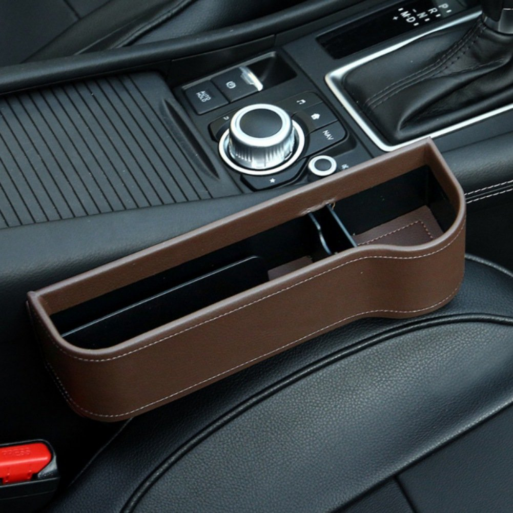 Mercu 2018 Leather Car Seat Side Storage Box Multi-functional Side Gap Filter Organizer Cup Holder with Lichee Pattern Set of 2, black