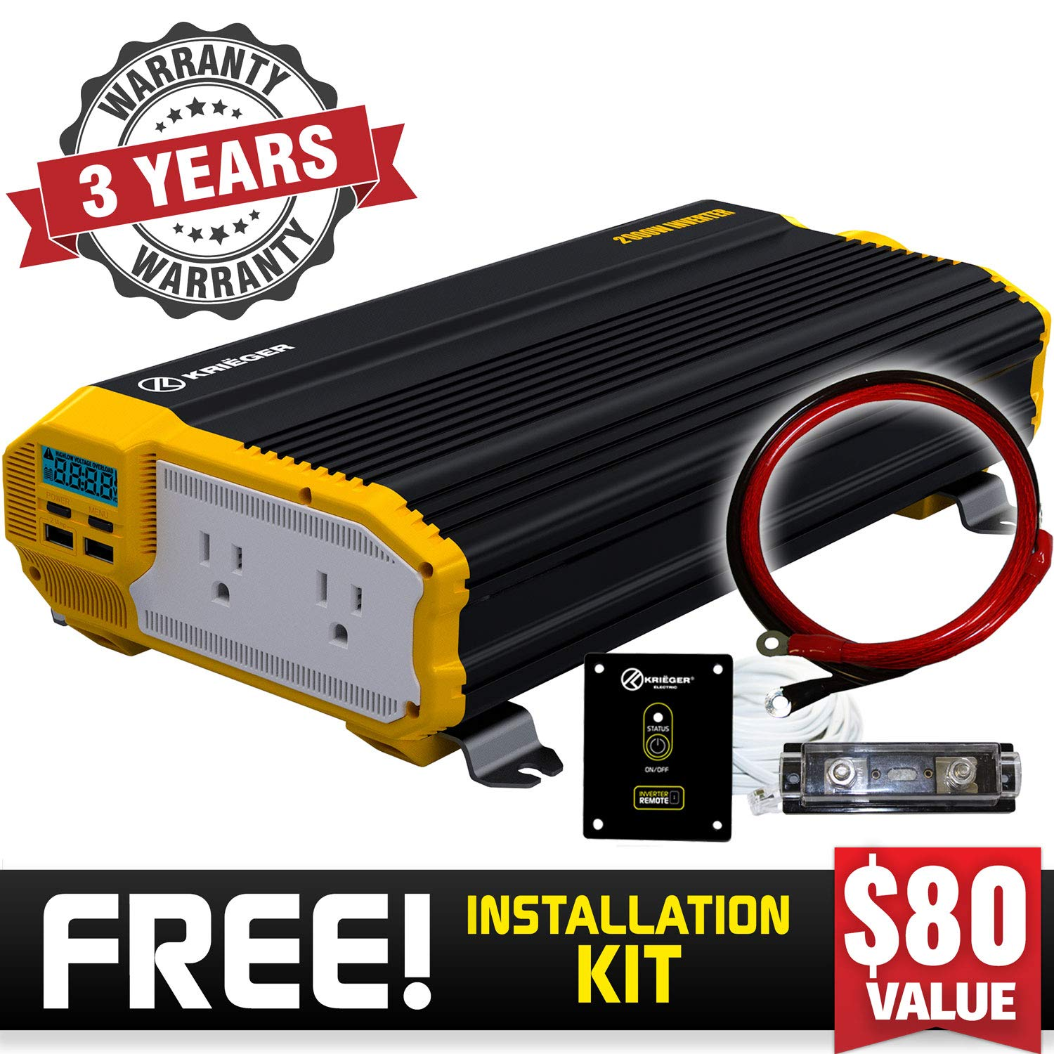 Krieger 2000 Watt 12V Power Inverter, Dual 110V AC Outlets, Installation Kit Included, Back Up Power Supply Perfect for an Emergency, Hurricane, Storm or Outage - MET Approved to UL and CSA Standards by K KRIËGER