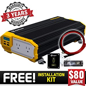 Krieger 2000 Watt 12V Power Inverter, Dual 110V AC Outlets, Installation Kit Included, Back Up Power Supply Perfect for an Emergency, Hurricane, Storm or Outage - MET Approved to UL and CSA Standards