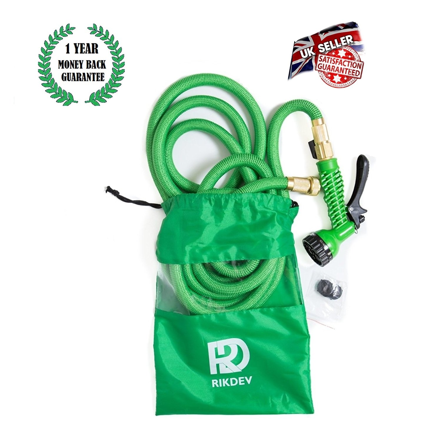 Garden Hose, Rikdev 75ft Expandable Hose Pipe Green -- New Stronger Double Latex Inner Tube & NEWER Anti Kink Material - 7 Pattern Spray Gun with Anti Leakage SCREW on Brass Fittings and Shut off Valve - Includes a FREE Custom Drawstring Bag for Easy