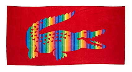 Lacoste Rainbow toalla de playa, color rojo