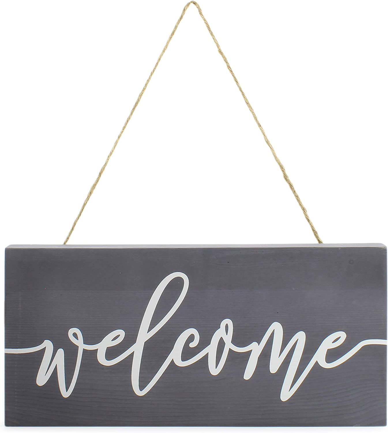 AuldHome Farmhouse Wooden Welcome Sign, Gray and White Rustic Style Wood Hanging Plaque, 12 x 6 Inches