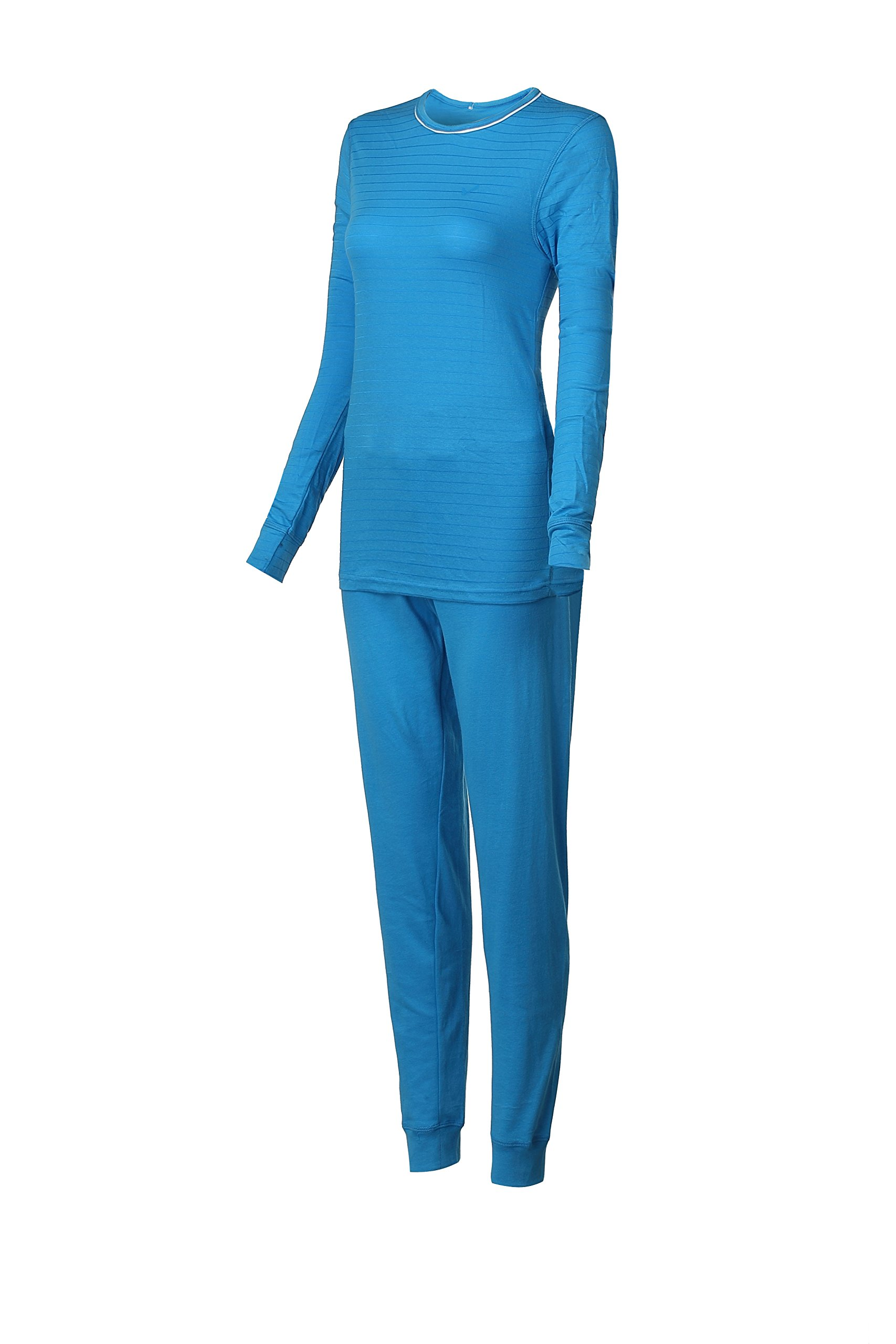 2 Piece Set Top and Bottom Ladies Ski Long Johns Thermal Underwear (X-Large, Turquiose)