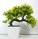 Hyperboles Bonsai Wild Plant Artificial Plant with Pot(Yellow)
