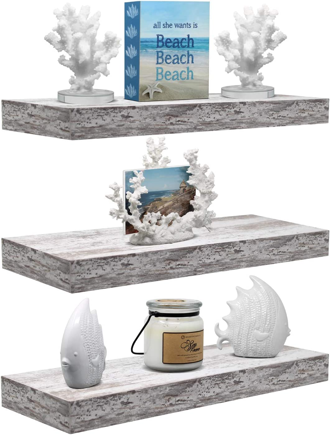 Sorbus Floating Shelf Set — Rustic Wood Coastal Beach Style Hanging Rectangle Wall Shelves for Home Décor, Trophy Display, Photo Frames, etc (3-Pack, Rectangle Shelf Set - White)