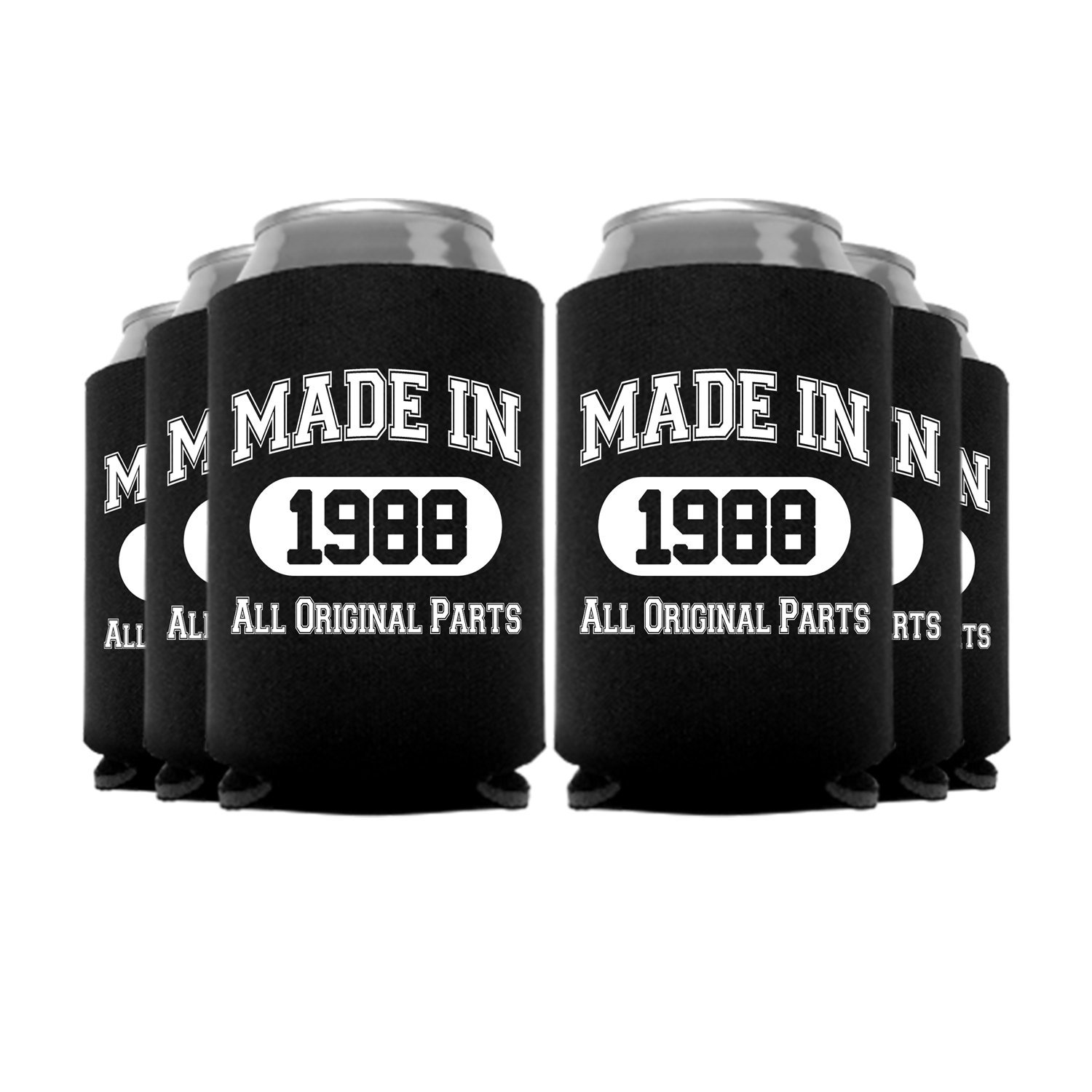 ''Made In'' Funny Birthday Can Coolers Party Favor, Black, 1988 6 Pc
