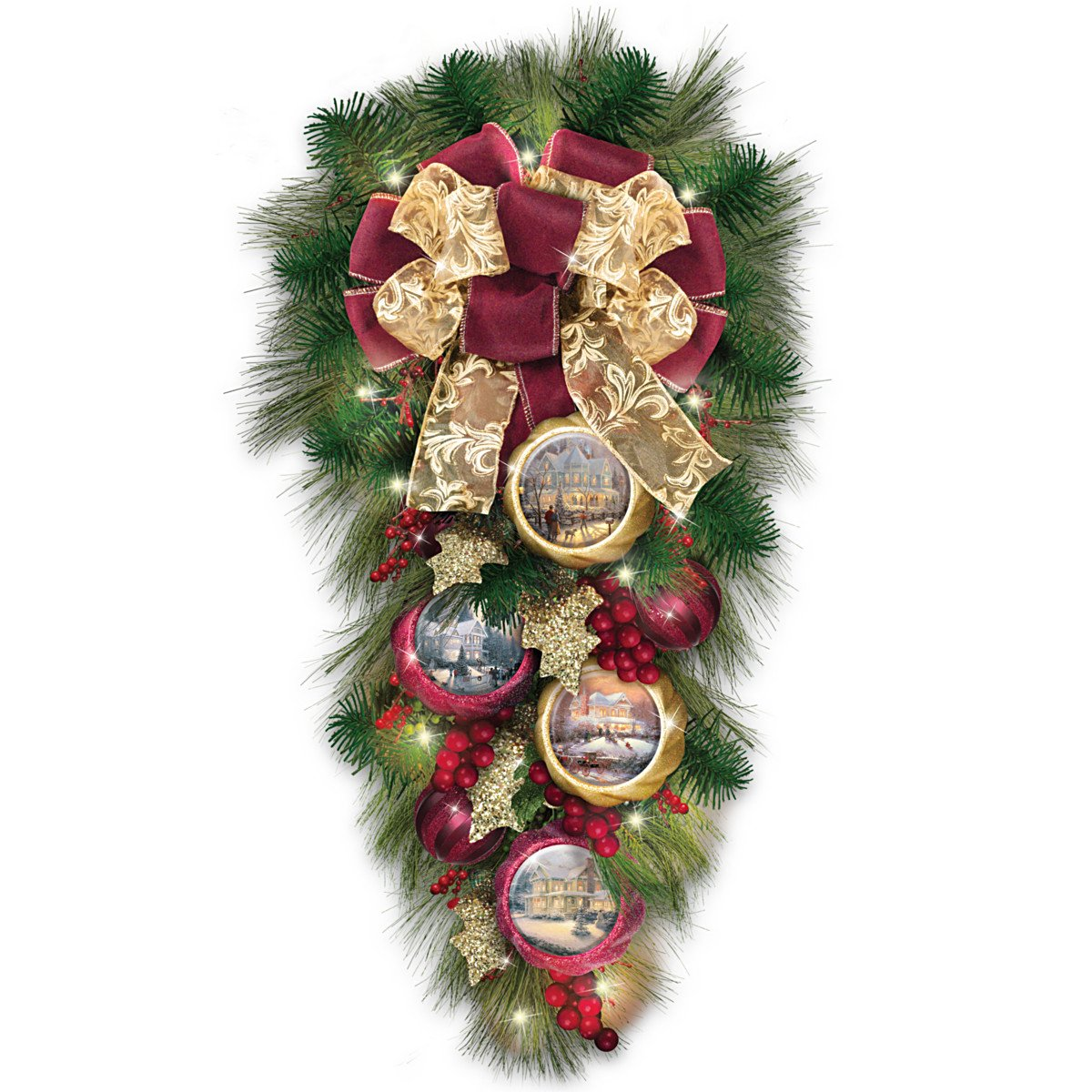 The Bradford Exchange Thomas Kinkade Lighted Teardrop Wreath with Artwork Ornaments: Welcome Christmas