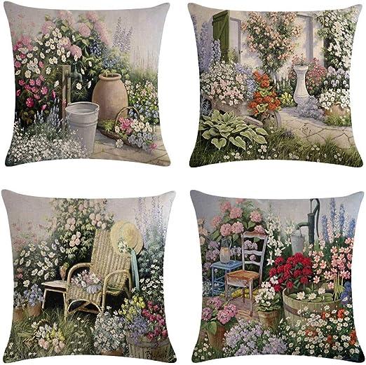 Flower Peacock Design Cotton Linen Square Decor Throw Pillow Case Cushion gift