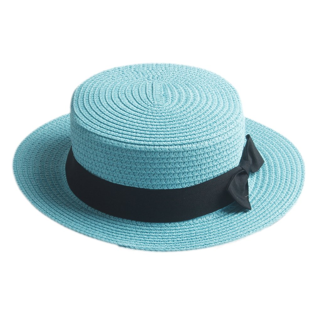 Elee Children Girls Straw Bowler Derby Hat Round Flat Brim Boater Cap