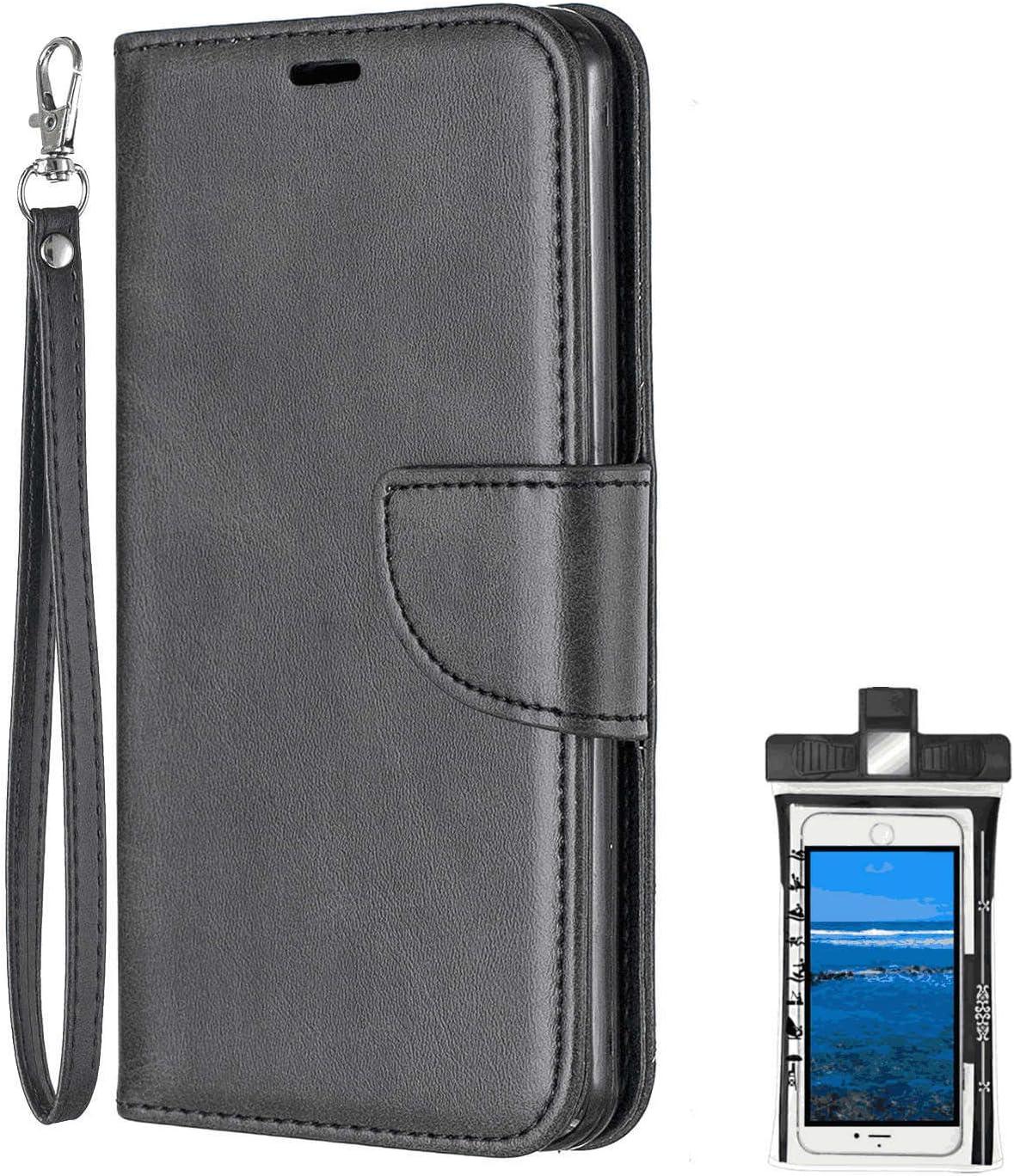 Samsung Galaxy ノート Note 9 レザー ケース, 手帳型 サムスン ギャラクシー ノート Note 9 本革 カバー収納 財布 耐摩擦 ビジネス 携帯カバー 無料付スマホ防水ポーチIPX8 Fashion