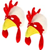 2 Pieces Plush Chicken Hat Animal Hat Rooster Head Mask for Costume Dress Hat
