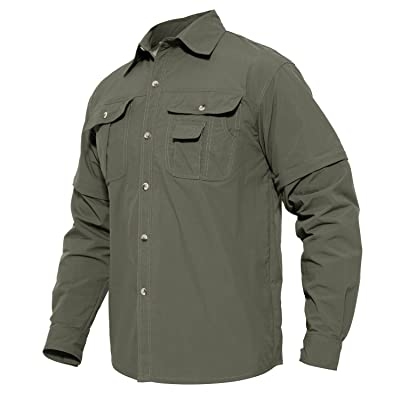 MAGCOMSEN Men's Quick Dry Breathable Convertible Long Sleeve Rip-Stop Shirt Review