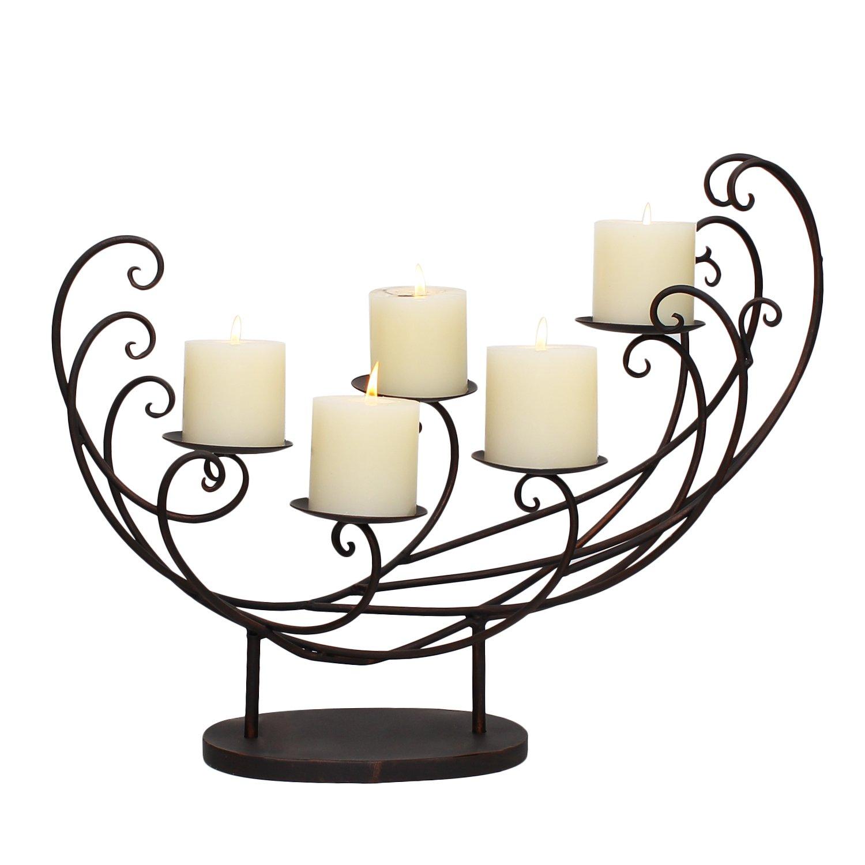 Asense Decorative Iron Pillar Candle Holder (Holds 5 Pillar Candles) (Pillar, Spindrift ASHD0027)