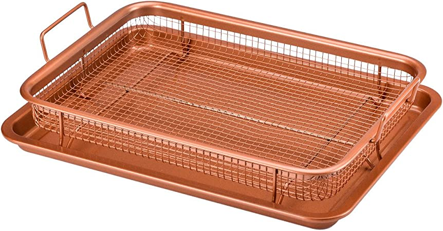 Copper Chef 2 Piece Non Stick Bakeware Set For Oven With Crisper Pan And Cookie Sheet 13 X 9 Inch N5o4rbl Kitchen Dining