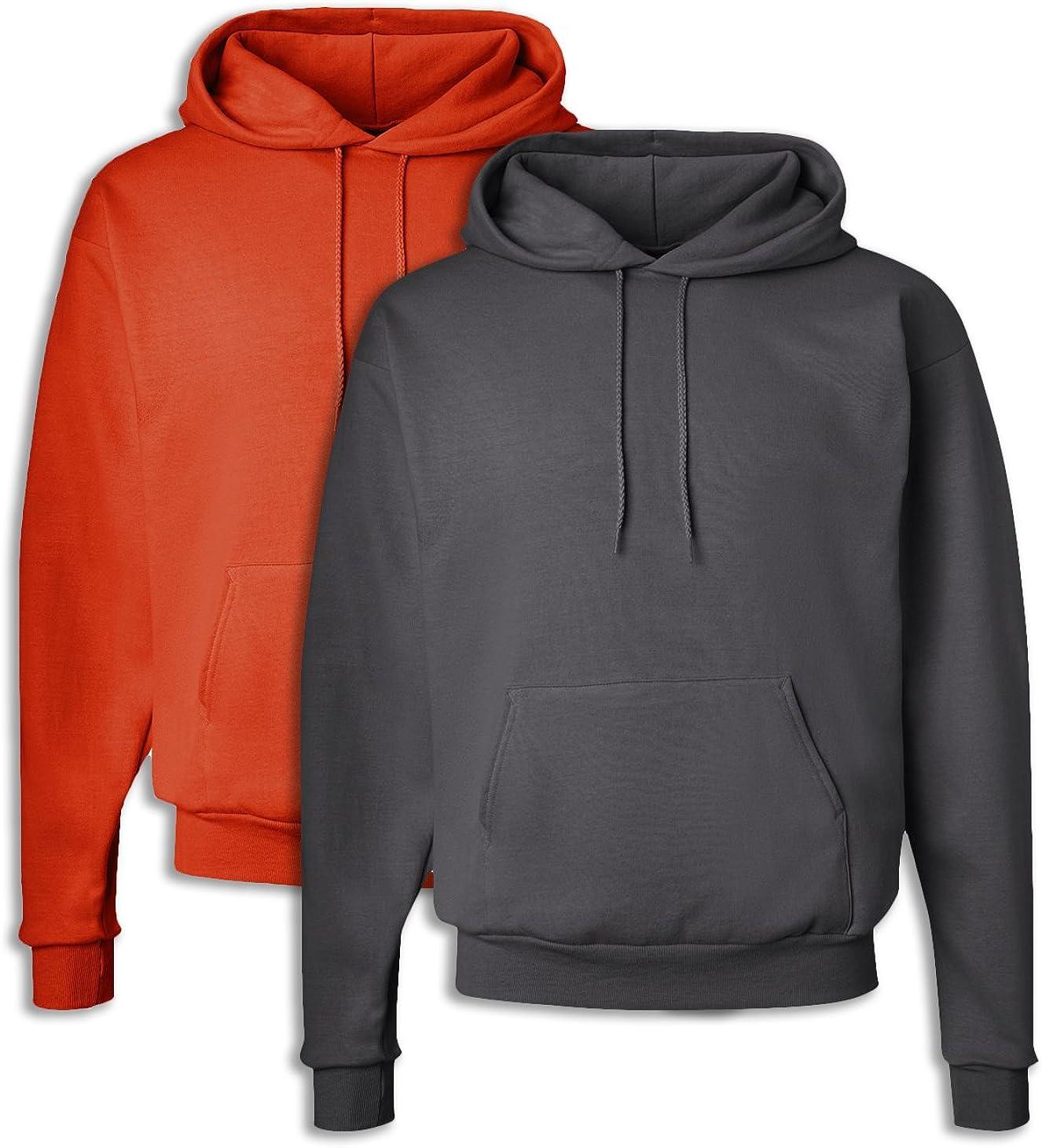 1 Smoke Grey Hanes P170 Mens EcoSmart Hooded Sweatshirt XL 1 Orange