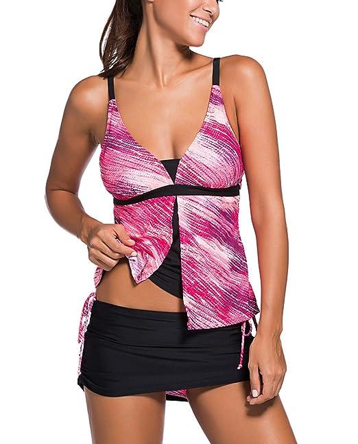 Aleumdr Mujer Tankini Colorblock Trajes de baño Básico Bañador Escote en V Color Size S-XXXL
