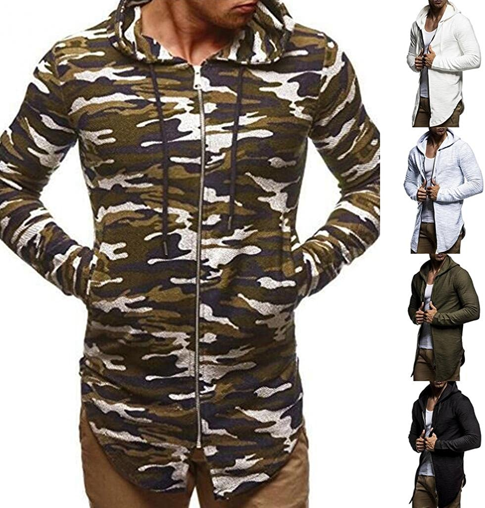 Colors of Rainbow Mens Casual Autumn Winter Hip Hop Solid Camouflage Hooded Track Jacket Coat