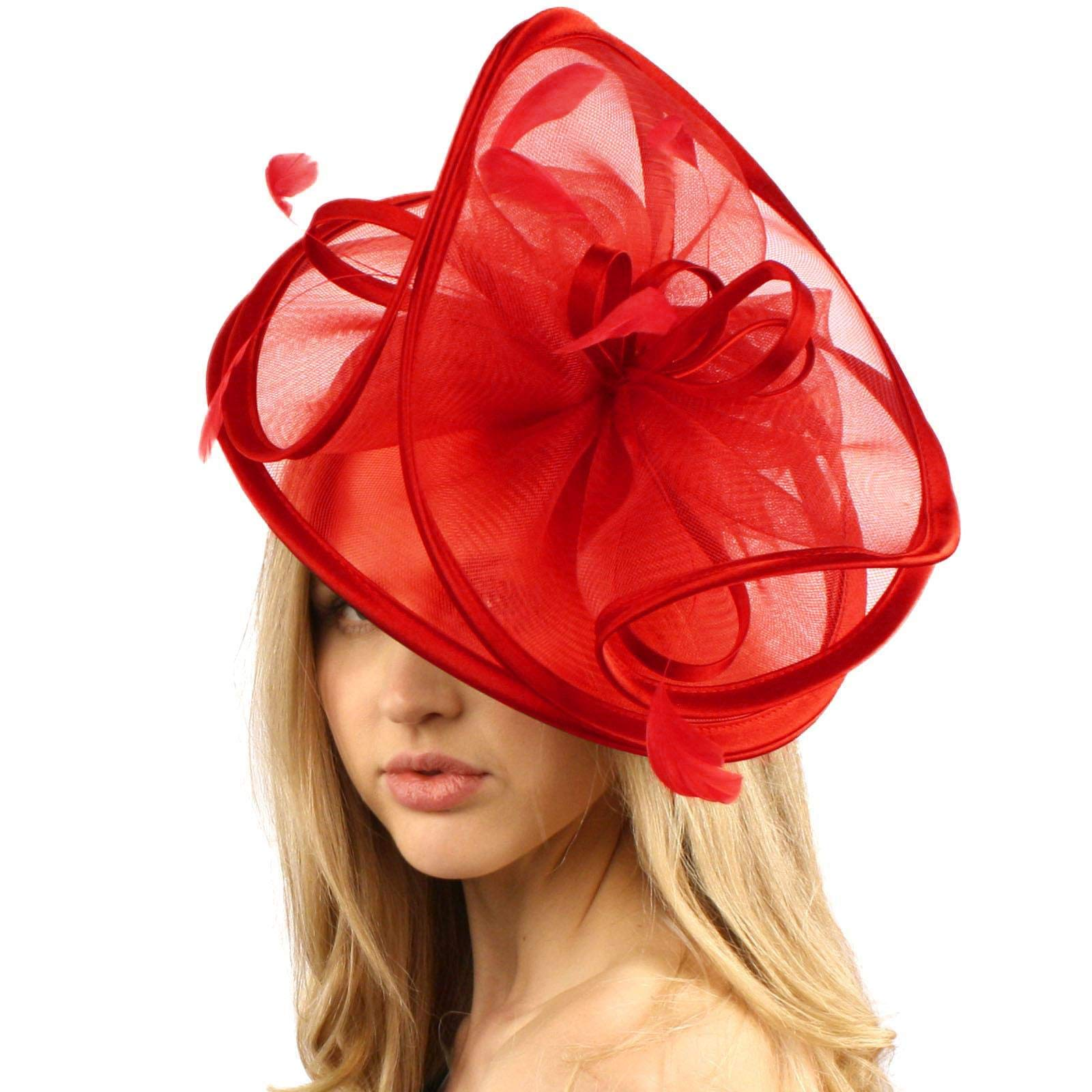 Feathers 3 Tier Layer 2 Tone Headband Fascinator Millinery Cocktail Hat Solid Red by SK Hat shop