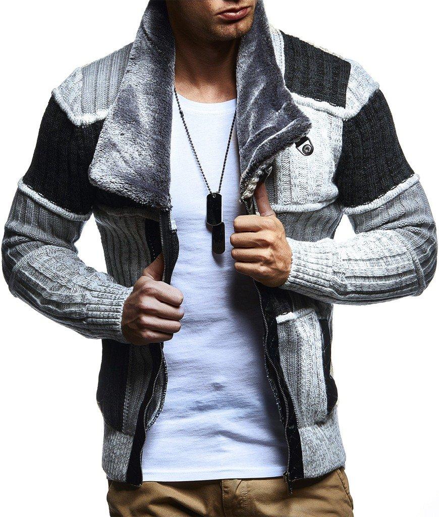 LEIF NELSON Herren Strickjacke Jacke Pullover Hoodie Langarm Sweatjacke Sweater Schalkragen Strick 5495